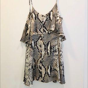 Blu Moon - Low Back Mini Dress - Snakeskin Print